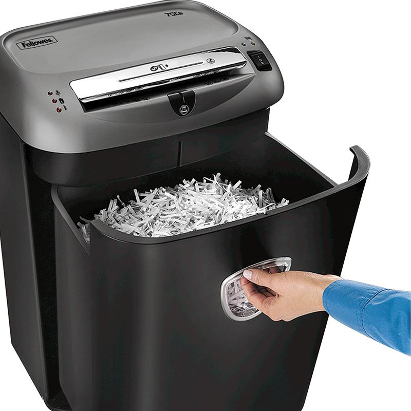 Fellowes范罗士75Cs系列自动静音小型办公碎纸机4级保密商用文件粉碎大容量功率26L单次碎纸12张段状可碎光盘