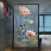 新中式屏风 隔断 客厅简约现代卧室遮挡家用玄关古典镂空移动荷花