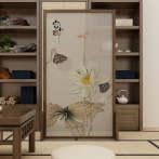 AEY 中式屏风隔断时尚简约客厅卧室实木座屏半透纱移动水墨屏风可定制图案 单扇款