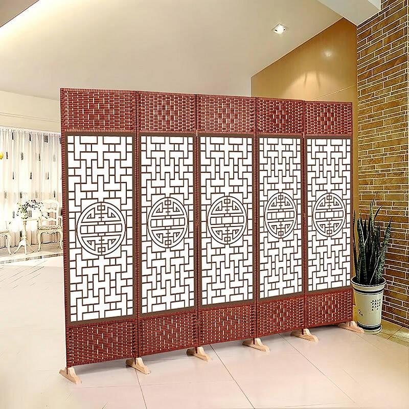 AEY 移动实木屏风现代中式客厅办公 卧室酒店玄关隔断 图案可定制 4扇款