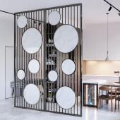 轻奢不锈钢仿大理石UV板屏风隔断墙客厅玄关北欧简约现代创意金属