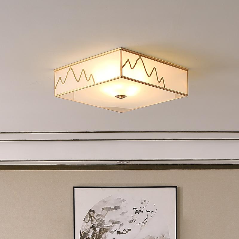 希尔顿全铜新中式吸顶灯客厅灯正方形卧室中国风复古灯具现代简约