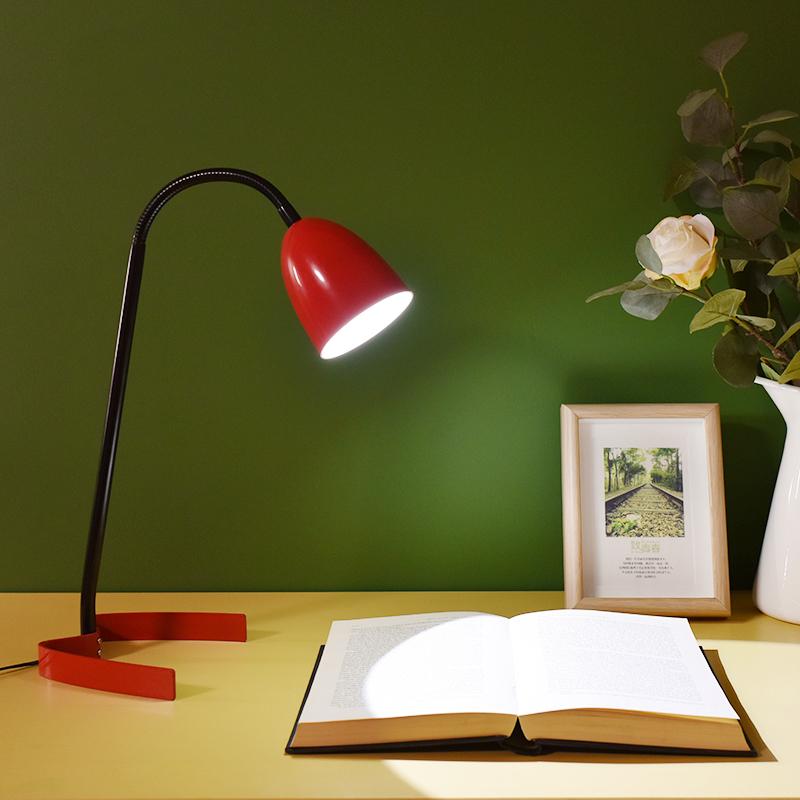 出口ins风设计师原创意北欧简约LED书桌卧室床头亮红色艺术小台灯