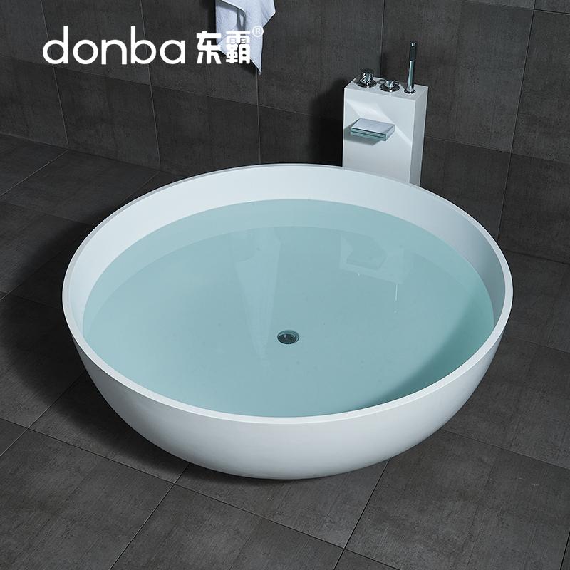 东霸圆形人造石浴缸独立式家用成人卫生间欧式酒店小户型双人浴盆